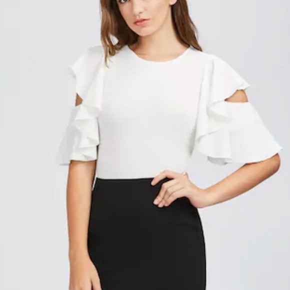 0b514df1d9db SHEIN Tops | White Cut Out Flutter Sleeve Body Suit Small | Poshmark